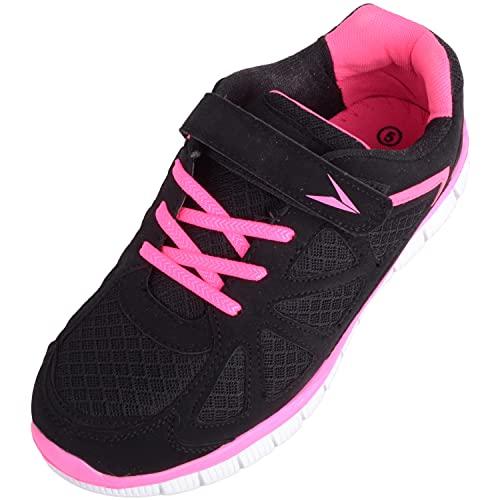 Zapatillas de deporte para mujer, con cordones, para caminar, correr, hacer ejercicio, con detalles de color rosa neón, color Negro, talla 39 EU