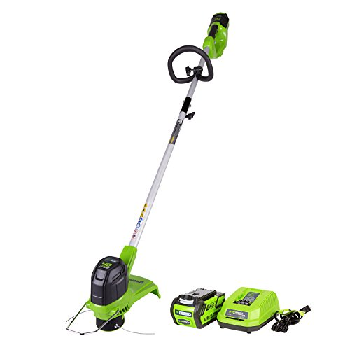 commercial Greenworks Cordless Thread Trimmer 12 inch 40V, 2.0 Ah Battery and Charger Includes 2101602 cordless string trimmers