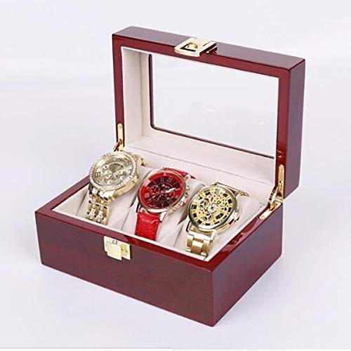 TQ 10 Grids Retro Rot Holz Uhr Vitrine Langlebige Verpackung Halter Schmuckkollektion Lagerung Uhr Organizer Box aufbewahrungsbox,3