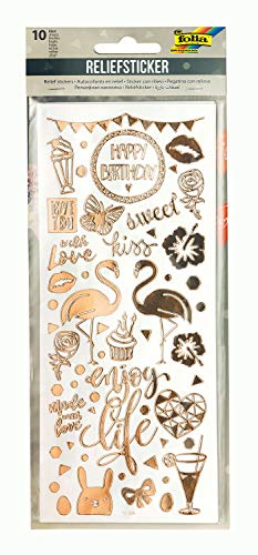 folia 12910 - Relief, Sticker Ganzjahr II, hochwertige Sticker, 10 Blatt, ca. 10 x 24 cm, Motive sortiert, ideal zum Verzieren von Grußkarten, Bastelarbeiten und Scrapbooking