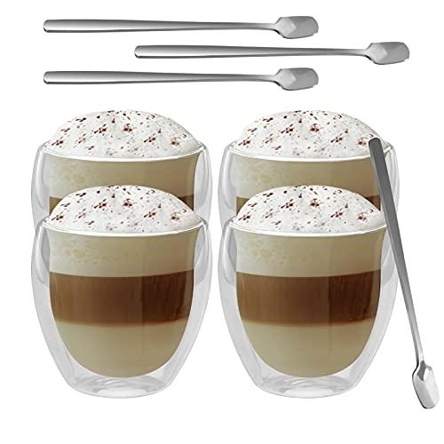GoMaihe Latte Macchiato Doppelwandige Gläser 250ml 4er Set und 4 Löffel, Cappuccino Tassen Eiskaffee Becher Kaffeetasse Teegläser Thermogläser Doppelwandig, Kaffeegläser Coffee Cup Mokkatassen