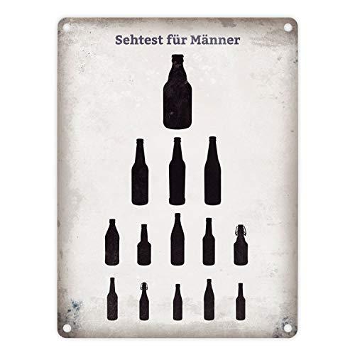 trendaffe - Sehtest für Männer Blechschild mit verschiedenen Bierflaschen in 15x20 cm - Metallschild Dekoschild
