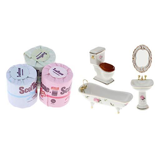 Conjunto de 4 Mini Muebles de Cuatro de Baño de Porcelana con 3 Rollo de Papel Higiénico, Diseño Exquisito para Decoración Casa de Muñecas 1:12