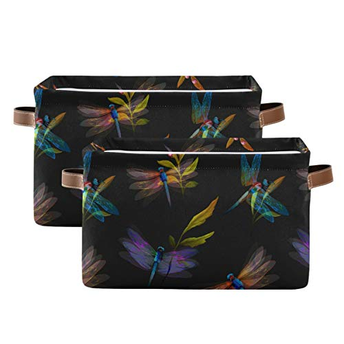 Evlife Storage Basket Cube Abstract Art Animal Dragonfly Large Collapsible Toys Storage Box Bin Laundry Organizer for Closet Shelf Nursery Kids Bedroom,15x11x9.5 in,2 Pack