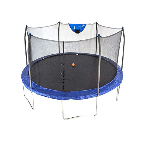 Skywalker Trampolines 15-Foot Jump N' Dunk Round Trampoline with Enclosure Net - Basketball Trampoline