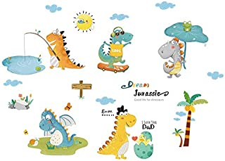 Dinosaur Wall Decal for Boys Girls Cartoon Wall Stickers for Kids Bedroom Large Dinosaur Wall Decor Decorations for Nurser...