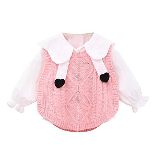 Allence - Conjunto de suéter de Punto y Ganchillo para niños y niñas, Estampado Rosa. 70 cm