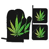 ASNIVI Guantes y agarraderas para Horno, Hoja Cannabis Marihuana Hierba Hierba Ganja Narcótico Ilícito Símbolo Droga Ilegal,Guantes Resistentes al Calor Guantes aislantes ,adecuados para cocinar