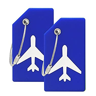 Silicone Luggage Tag With Name ID Card Perfect to Quickly Spot Luggage Suitcase (Plane 2Pcs Blue)