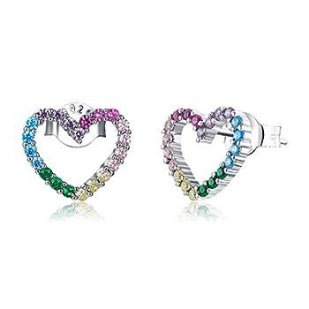 BAMOER Jewelry 925 Sterling Silver Earrings Cubic Zirconia Rainbow Heart Earrings Hypoallergenic Earrings for Women