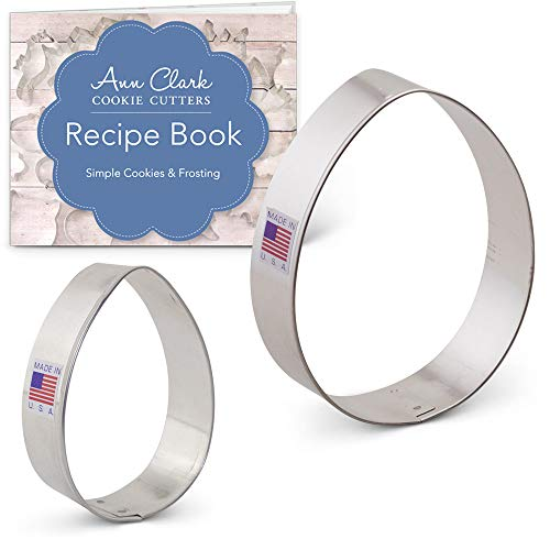 Ann Clark Cookie Cutters 2-Piece Easter Egg Cookie Cutter Set with Recipe Booklet, 3'