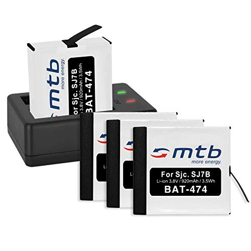 4 Baterías + Cargador Doble (USB) para cámara Deportiva SJCAM SJ7 Star 4K NATIV WiFi (Black/Silver/Rose Edition), SJ7000 Star Actioncam - Contiene Cable Micro USB