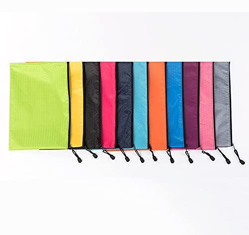 Paquete de 10 bolsas de archivo con cremallera de varios colores, carpetas de plástico, carpetas de documentos, bolsa impermeable, bolsa de archivo de categoría, papelería de oficina - A5