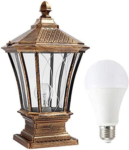 UYZ Lámpara de Poste Vintage para Exteriores, lámpara de jardín Impermeable, luz Blanca E27, lámpara de pie de Aluminio y Vidrio para Porche, Pasillo, terraza, Villa, Patio, lámpara de césped, o