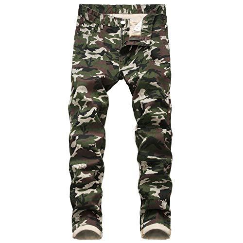 Huntrly Pantalones Vaqueros de Camuflaje a la Moda para Hombre 44
