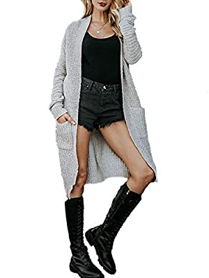 Simplee Women's Casual Open Front Long Sleeve Knit Cardigan Sweater Coat with Pockets (Light Gray 0-10) from