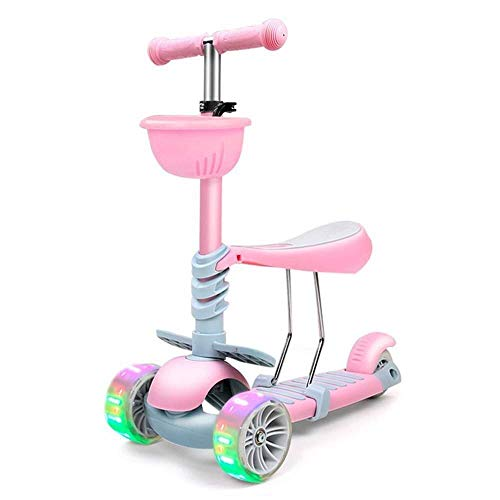 Smmli-Toy Kinderroller, Rosa Dreirad Zwei-in-Eins-Blitz-Roller Sicherer Dreh ohne Überrollen Dicker magnetischer Blitz-Rad-Roller
