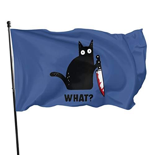N/ Banderas de poliéster con diseño de Gato Negro con Cuchillo, 3 Banderas de 5 Pulgadas, poliéster, Negro, Talla única