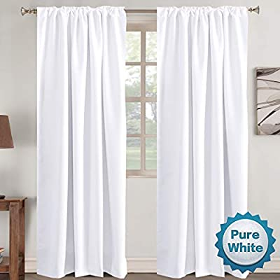 """Window Treatment Curtains Insulated Thermal White Curtains Blackout Back Tab/Rod- Pocket Room Darkening Curtains, Pure White, Solid Curtains for Living Room, 52"""" W x 96"""" L inch (Set of 2 Panels)"""