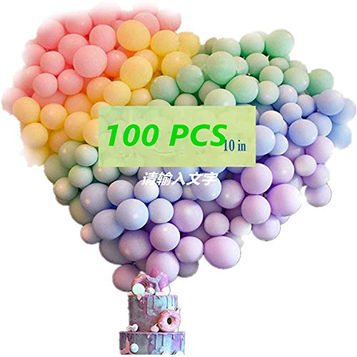 100PCS Rainbow Balloons Party Decorations, 10inch Macaron Ballon, Macaron Candy for Birthday, Weddings, Baby Shower Party, Festival Decorations, Business Event
