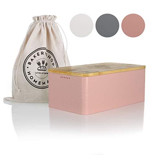 LARS NYSØM Brotkasten I Brotdose in Rose mit inkludiertem Brotsack aus Leinen für langanhaltende Frische I Brotbox mit hochwertigem Bambusdeckel verwendbar als Schneidebrett I 33x19x12 cm