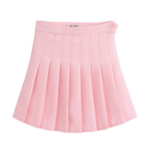 Jixin4you Sport Stil Damen Mädchen Minirock Sommerrock Faltenröcke Kurzer Rock Mini Plissiert Rock Skater Rock M Pink