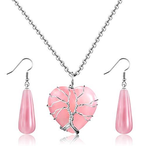 Juego de Pendientes y Collar de Cristal Curativo de Cuarzo Natural Collar de Colgante de Piedra en Forma de Corazón Envuelto en Alambre de Plata para Mujer Niña, Cuarzo Rosa