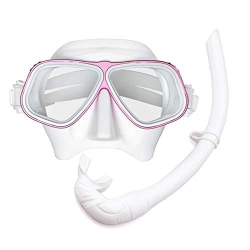 MHSHKS Completa Máscara Gratis Máscara De Buceo Máscaras De Buceo De Respiración Fácil De 120 ° Equipo De Snorkel para Adultos O Niños Antivaho Antifugas (Color : White Pink 02)