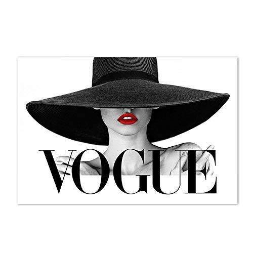 Mode Frauen Wandkunst Poster, Schwarzer Hut Sexy Rote Lippen Leinwand Malerei, Moderne Vogue Schwarz Weiß Bild Für Wohnzimmer Wohnkultur / 50x75cm (kein Rahmen)