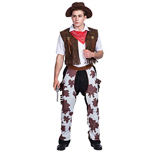 ReneeCho Disfraz de Vaquero para Hombres Wild West Disfraz de Adulto Disfraz de Fiesta Divertida para Cosplay