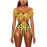 Fanteecy Women Tribal Print Bikini African Two Piece Beachwear Cutout Bathing Suit Swimwear Ruffled Shoulder Straps Swimsuit (M, Yellow Two Piece)
