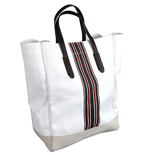 Fashion Shopping Gucci Men's 100 White Canvas Large Web Tall Tote Handbag 338964