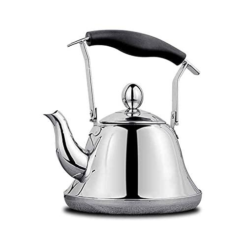 AWJ Teteras de Camping para Agua hirviendo Teteras de café y té para Acampar, Tetera con infusor Superior para Estufa Adecuado para té Suelto Hervidor de café de Acero Inoxidable