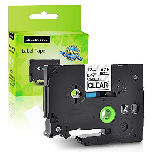 GREENCYCLE 1 Pack Compatible for Brother TZ TZe 131 TZ-131 TZe-131 Standard Label Tape for P-Touch PT-D210 PT-H110 PT-D400AD Label Maker 12mm (1/2 Inch) x 8m (26.2 ft) Laminated Black on Clear