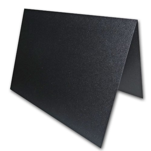 """Blank Metallic Black Place Cards Tent Cards - 50 Pack 