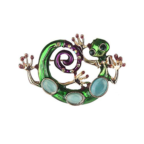 Broche aleación lagarto azul mujer estrás, decoración
