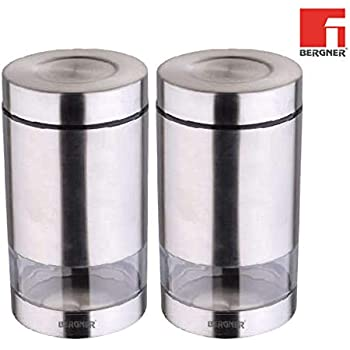 Bergner Stainless Steel Tidy Home Lata Kitchen Storage Canister (2, 0.55 L)
