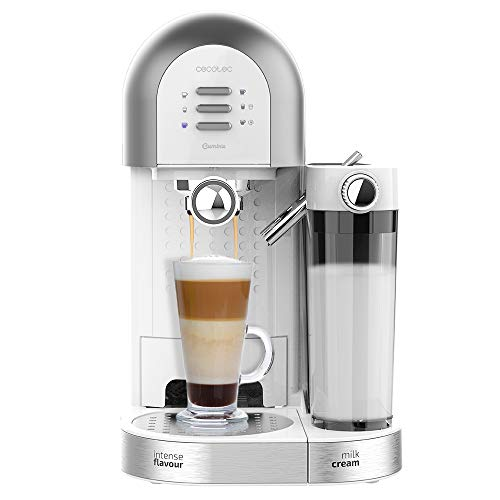 Cecotec Cafetera Semiautomática Power Instant-ccino 20 Chic Serie Bianca. para café molido y en cápsulas, 20 Bares, Depósito de Leche 0.7ml, Depósito de Agua 1.7L, 1470W