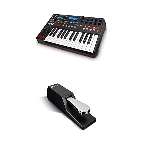 beat makers Beat Maker Bundle – 25 Key USB MIDI Keyboard Controller With 8 Drum Pads, Sustain Pedal and Pro Software Suite – Akai Pro MPK225 + M-Audio SP-2