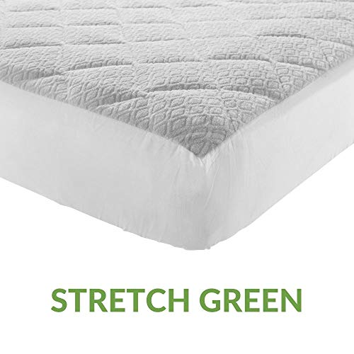 EVERGREENWEB - Waterproof Mattress Protector in Soft 100% Natural Cotton, Elasticated Corners and Antibacterial Protection for Mattress with New Generation Treatment, Breathable Fabric White 80 x 190 cm Singolo Stretch Green