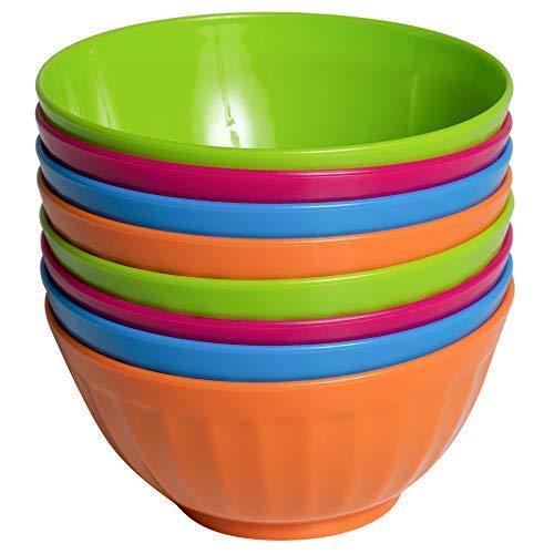 Klickpick Home 6 Inch Plastic Bowls Set of 8-28 ounce Large Plastic Cereal Bowls Microwave Dishwasher Safe Soup Bowls - BPA Free Bowls 4 Bright Colors (2 of Each Color)
