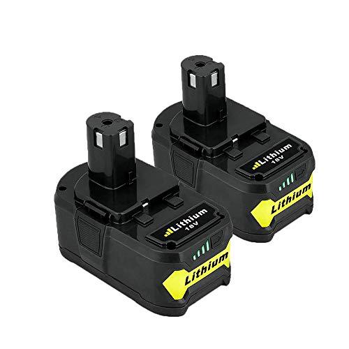 SHGEEN Batería de repuesto para Ryobi de 18 V de iones de litio para Ryobi ONE+ P108 P107 P104 P105 P103 RB18L50 RB18L40 RB18L25 con indicador LED, 2 unidades