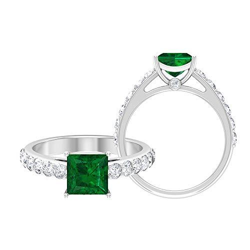 Anillo de esmeralda de corte princesa de 6,50 mm, D-VSSI, anillo de moissanita, anillo solitario con piedras laterales (calidad AAA), 14K Oro blanco, esmeralda, Size:EU 58