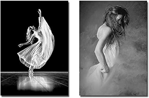 Photos murales 2 pièces 20x30cm sans cadre noir blanc affiche danseuse femmes peintures modernes sur le mur photos pour salon moderne décor à la maison