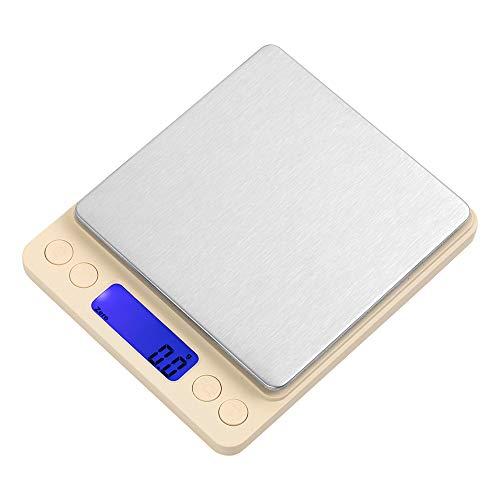 デジタルスケール 電子秤 はかり 3000g0.1g単位 数量計量 電源自動OFF トレー2個付き 簡易日本語取扱説明書付き スケール (ホワイト)