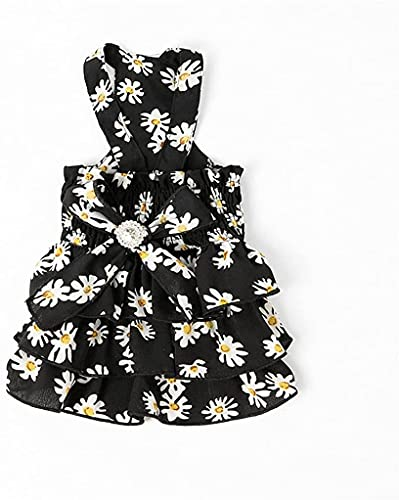 Vestido de verano para perros con diseo de gatos y flores, color blanco, talla S: L