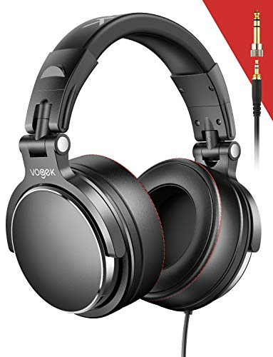 Studio Headphones, Vogek Professional DJ Headphones Mixing DJ Headset Protein Memory Foam Ear Pads, 50mm Neodymium Drivers Stereo Sound for Electric Drum Piano Guitar AMP