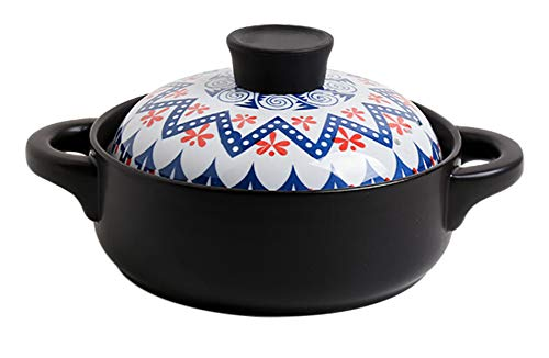 Coisound1688 Ceramic Round Casserole Clay Pot With Lid,Heat-Resistant, Double Handle Earthen Pot for Stew (1.5 Liters)