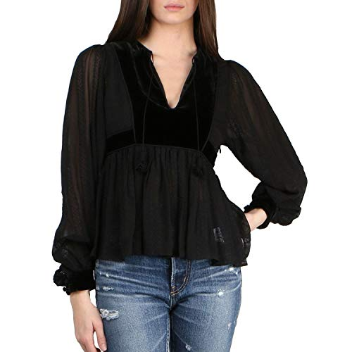 Ulla Johnson Womens Riya Peasant Blouse Noir 2