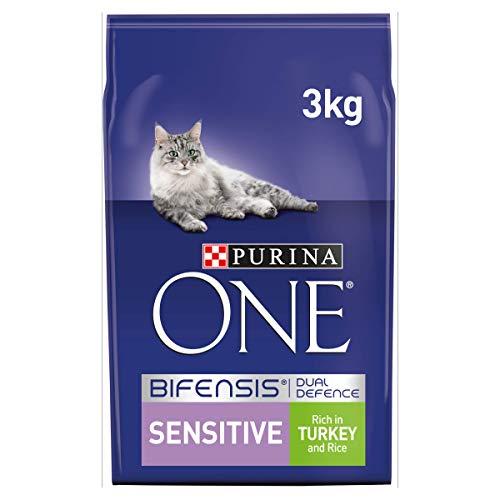 Purina ONE Sensitive Trockenfutter für Katzen, Truthahn und Reis, 3 kg, 4 Stück (12 kg)